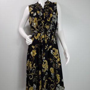 Nanette Lepore Dress Sz 8 Paisley Buttons Vneck